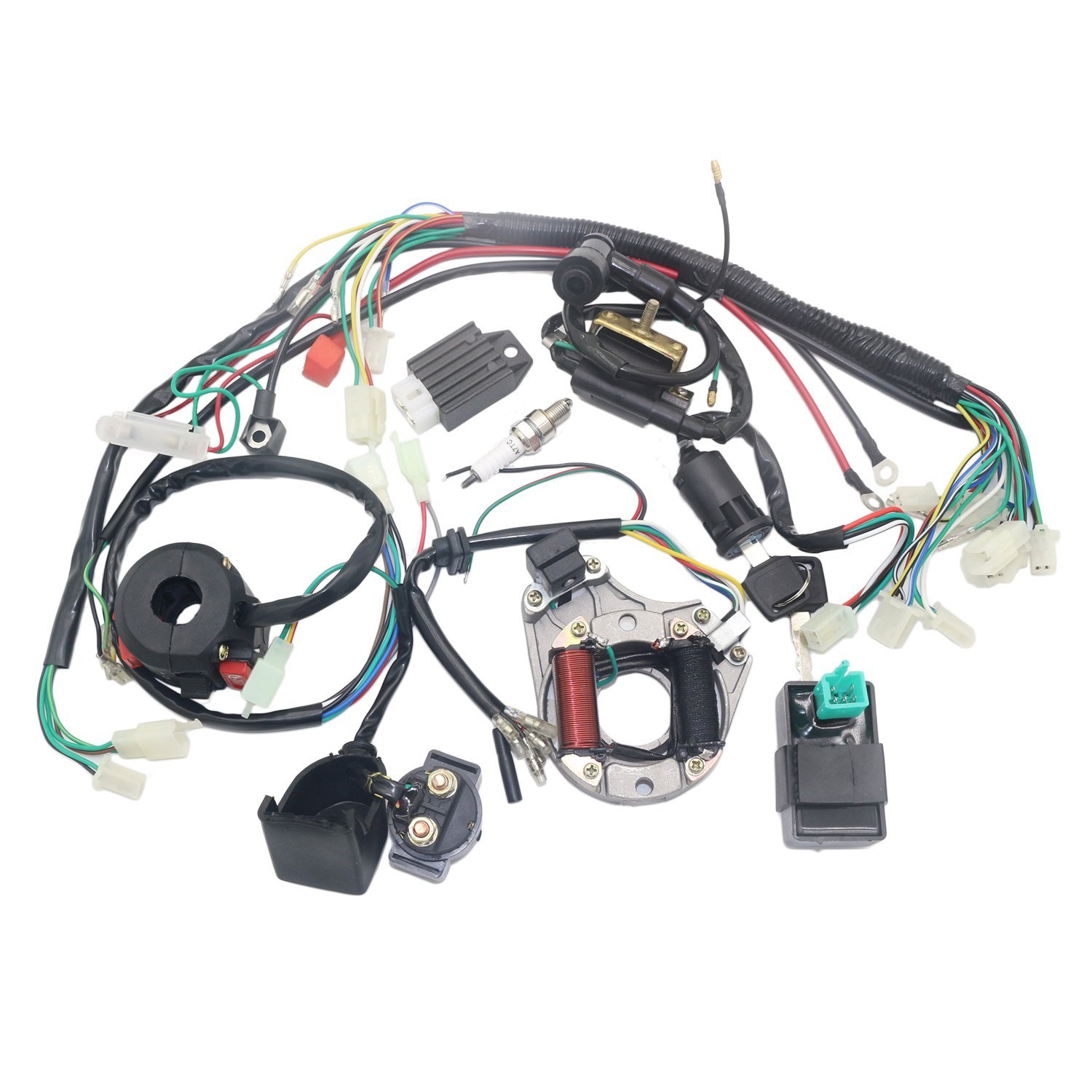 OTOHANS AUTOMOTIVE Complete Electric Stator Engine Wiring Harness Loom with Full Copper Wire for 50cc 70cc 90cc 110cc 125cc Pit Quad Dirt Bike taotao ATV Dune Buggy Go Karts 4 wheelers