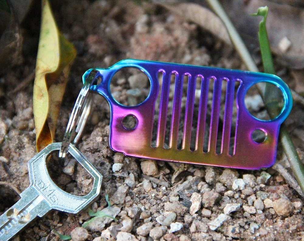 Stainless Steel Jeep Grill Key Chain KeyRing Black