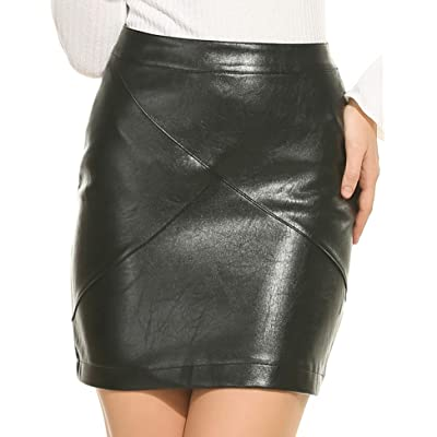 Zeagoo Women Classic High Waisted Faux Leather Bodycon Slim Mini Pencil Skirt at Women's Clothing store