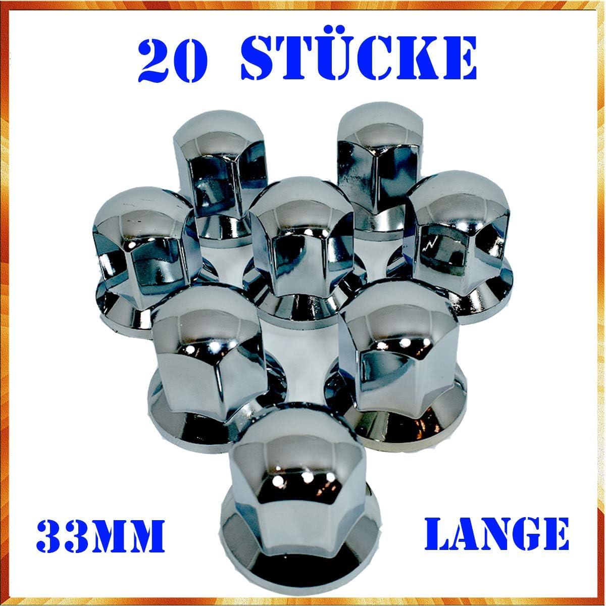 Easy Link 20 x Lange 33 mm Radkappen Chrom Radmutterkappen Radmutterschutz Kunststoff SW LKW Anh/änger