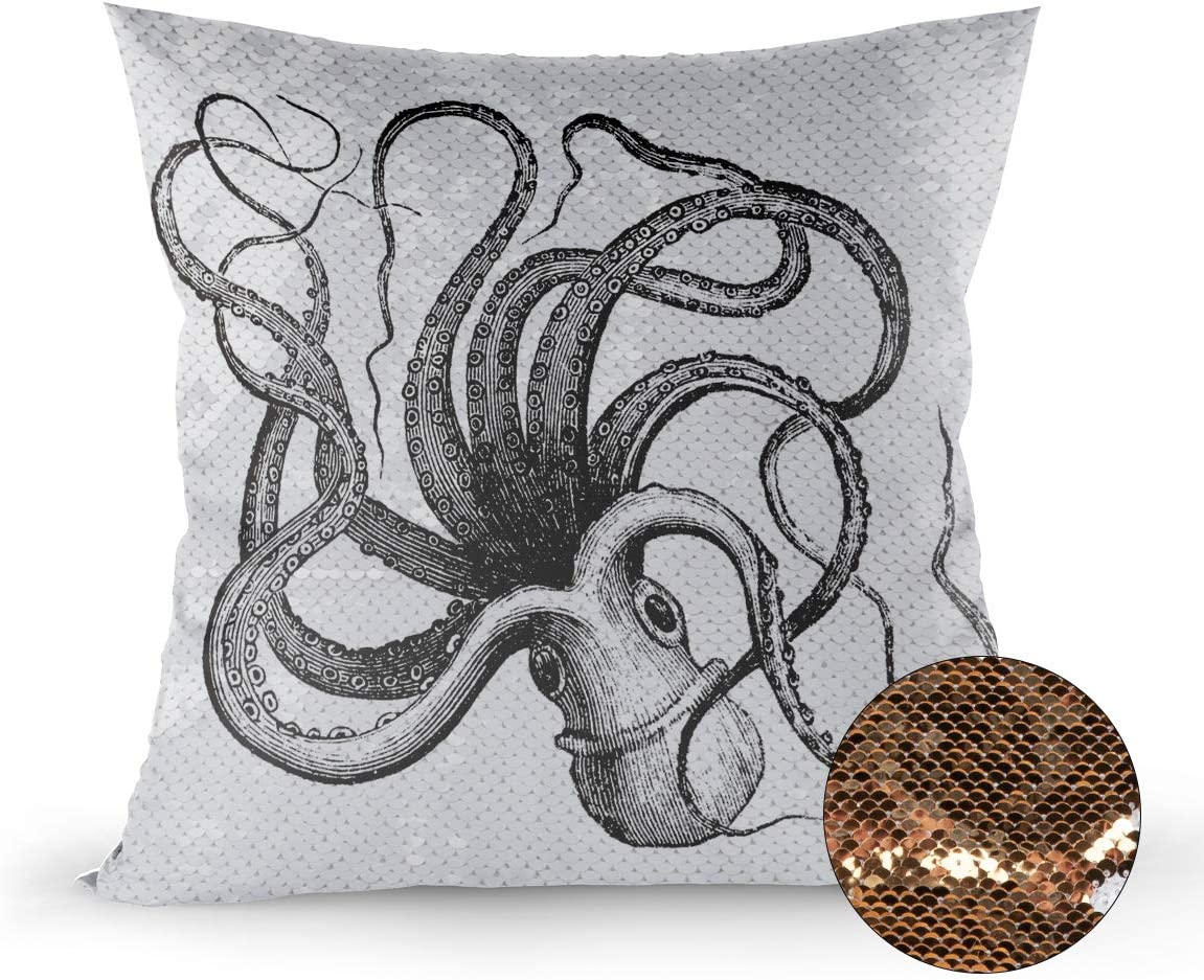 Amazon Com Reversible Sequin Pillow Case Decorative Ocean Theme Giant Octopus Black And White Mermaid Pillow Cover Color Changing Cushion Throw Pillowcase 18 X18 Home Kitchen