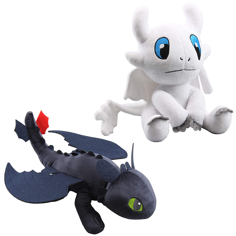 uiuoutoy How to Train Your Dragon 12'' Toothless Night Fury & 10''  Lightfury Plush Set of 2 pcs