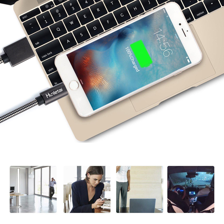 Hunletai Cavo Phone su USB Metallo Intrecciato Cavo Phone Grigio 1M 2 Pezzi