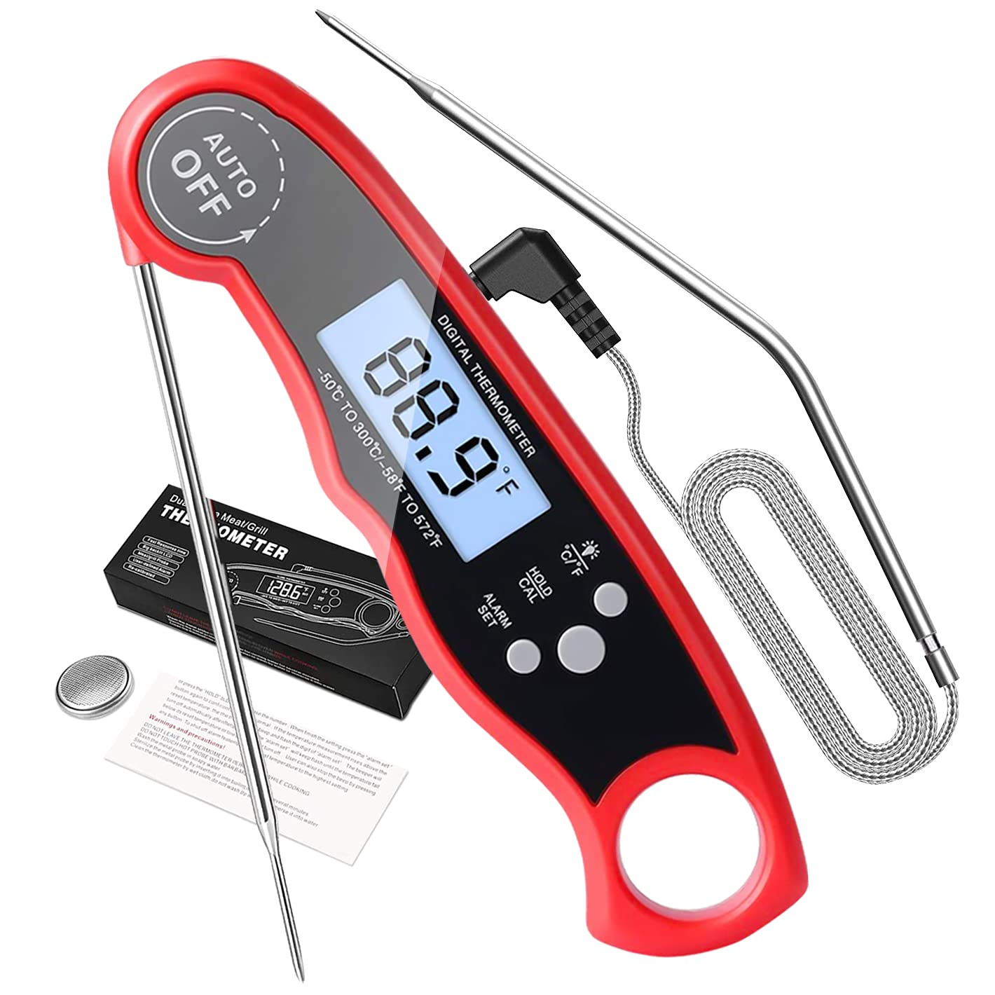 Meat Thermometer,Digital Dual Probe Meat Thermometers for Cooking,2 in 1 Instant Read Food Thermometer with Alarm Function and Backlight for Kitchen Grilling Baking Frying Smoker (Red)