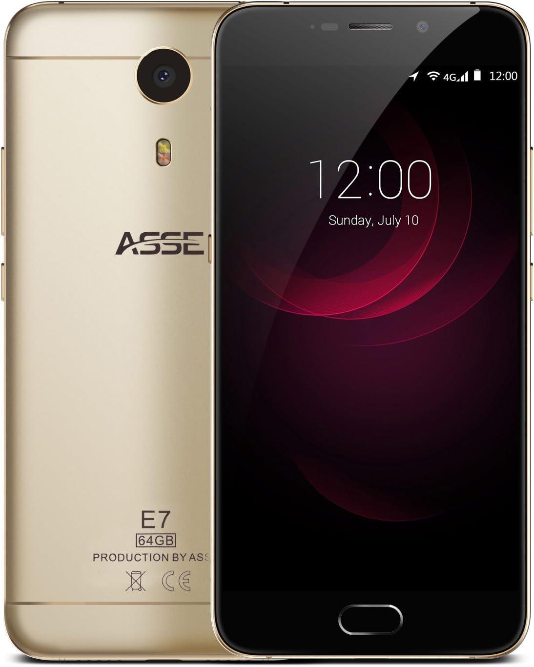 Asse E7 Smartphone 5.5 Pulgadas FHD Pantalla, 4 G, sin Contrato Dual SIM Android 7.0,4 GB RAM/64 GB Memoria, Helio P10 Octa Core Procesador, escáner de Huella Dactilar de Oro: Amazon.es: Electrónica