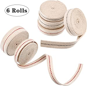 6 Rolls Flat Cotton Wick 1/2 Inch Oil Lamp Wicks 3/4 Inch Stitch Oil Lamp Wick 7/8 Inch Oil Lamp Wicks Burner with Black and Red Stitch for Kerosene Burner Lighting or Paraffin Oil Wick, 6.5 Feet per