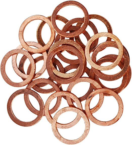 30 Pcs M10 Copper Sealing Washer Gasket Sump Plug Oil Flat Seal Ring Fitting