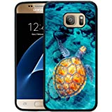 Galaxy S7 Case, Customized Black Soft Rubber TPU Samsung Galaxy S7 Case Turtle swimming in the seabed