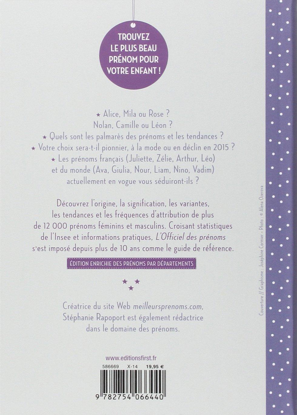 amazonfr lofficiel des prnoms 2015 stphanie rapoport livres