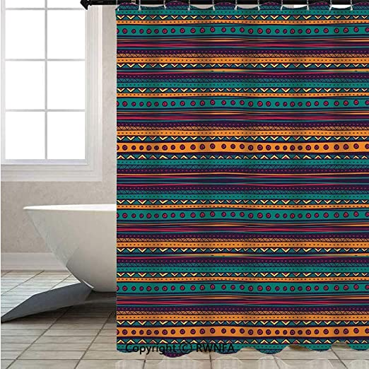 Tribal Shower Curtain Mexican Aztec Pattern Print for Bathroom