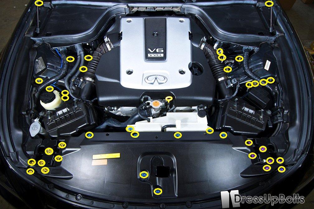 Amazon.com: Titanium Dress Up Bolts Engine Bay Kit for Infiniti G37 Coupe and Sedan (2008-2013) (Blue): Automotive