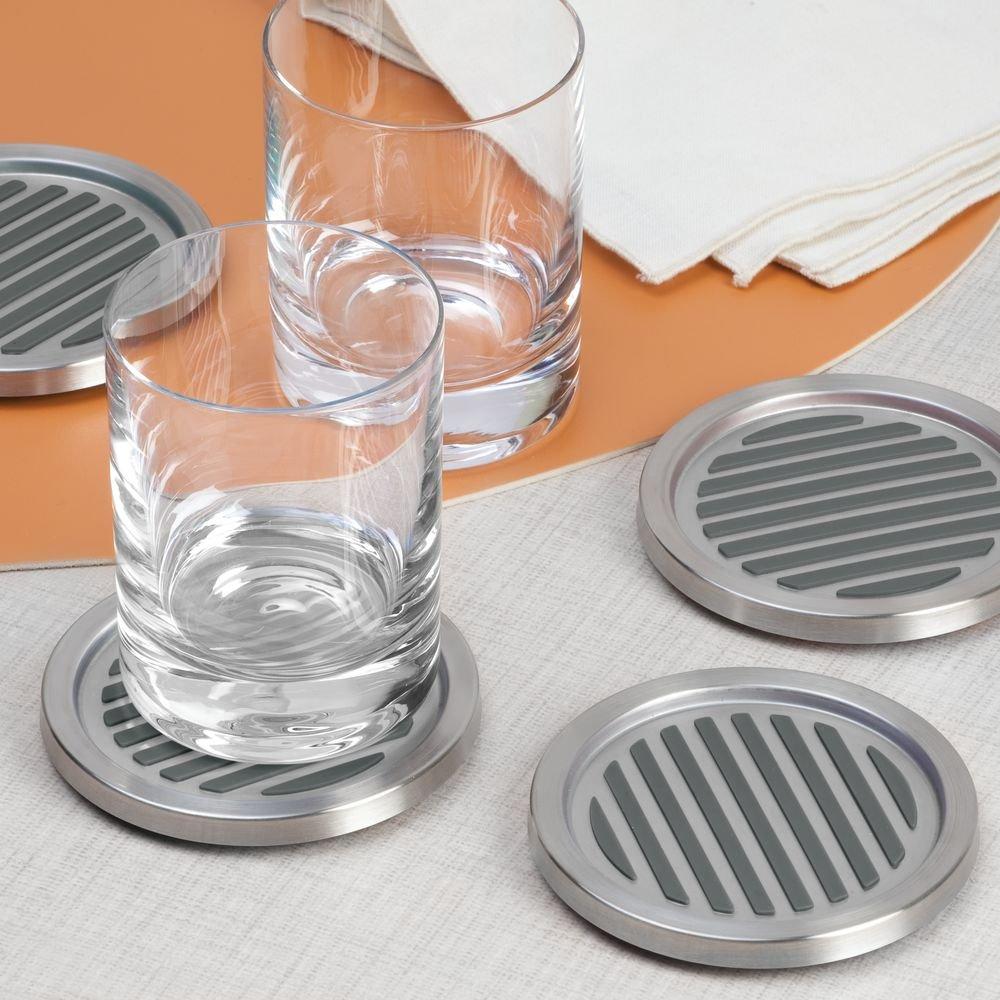 InterDesign Forma Drink Coasters - Set of 4, Brushed Stainless Steel/Black by InterDesign (Image #3)