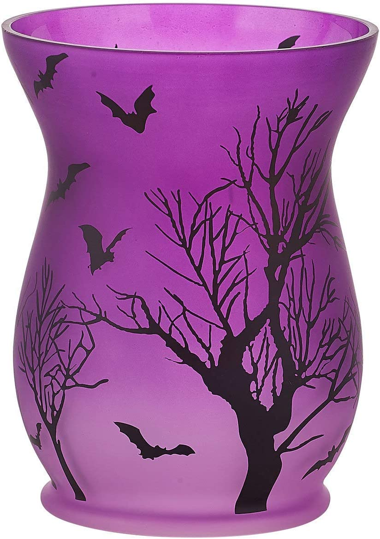 Pavilion Gift Company Purple Halloween Themed Large Glass 22 oz Hurricane Jar Candle Holder