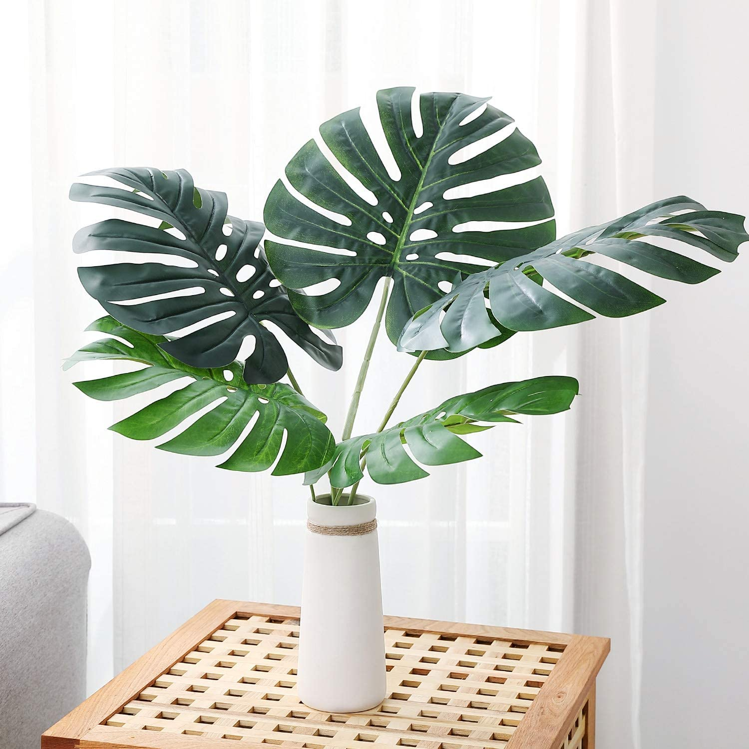Amazon Com Olivachel Artificial Leaves Tropical Monstera Leaves Palm Tree Leaf Plant Diy Decorations For Home Kitchen Wedding Party Monstera Leaves 5pcs Pack Furniture Decor