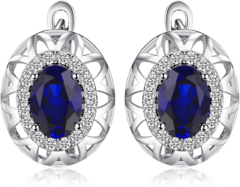 JewelryPalace Pendientes de Aro Diseño Único 2.4ct Creado Zafiro Azul en plata de ley 925