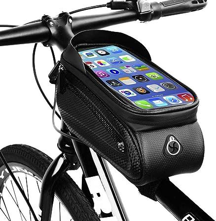 Gnohnay Bolsa Manillar con Soporte Móvil para Telefono Bicicleta, Bolsa Bici, Bolso Bicicleta Impermeable y con Ventana para Pantalla Táctil, para 7 iPhone, Samsung y Otros Smartphones: Amazon.es: Hogar