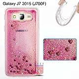 KC Liquid Glitter Floating Moving Hearts Case Transparent Soft Back Cover for Samsung Galaxy J7 2015 (J700F) - Rose Gold + Pink
