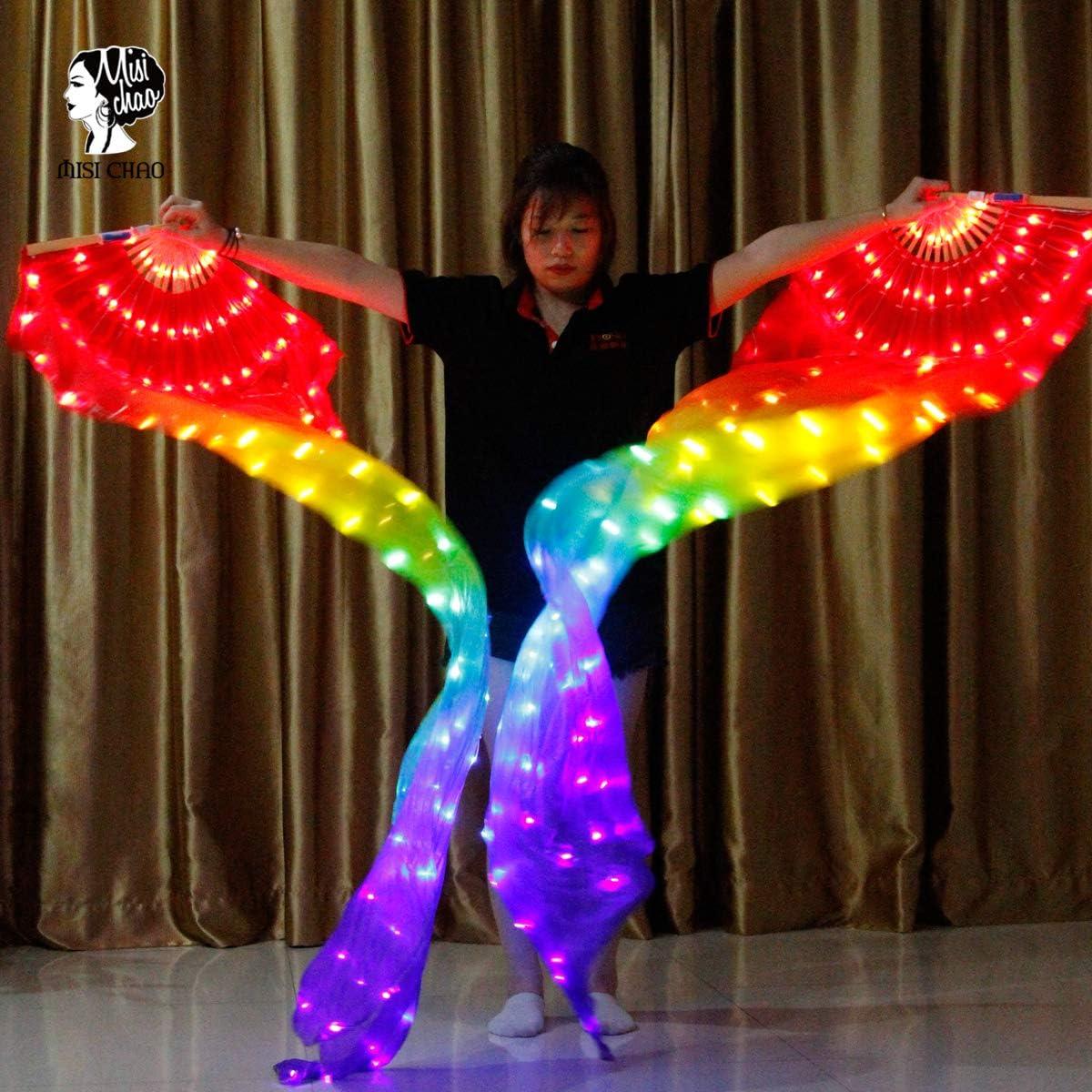 1.8 Long Bamboo Fans Veil Hand Made Silk Fan for Dance//Outdoor MISI CHAO Belly Dance LED Fan Veil