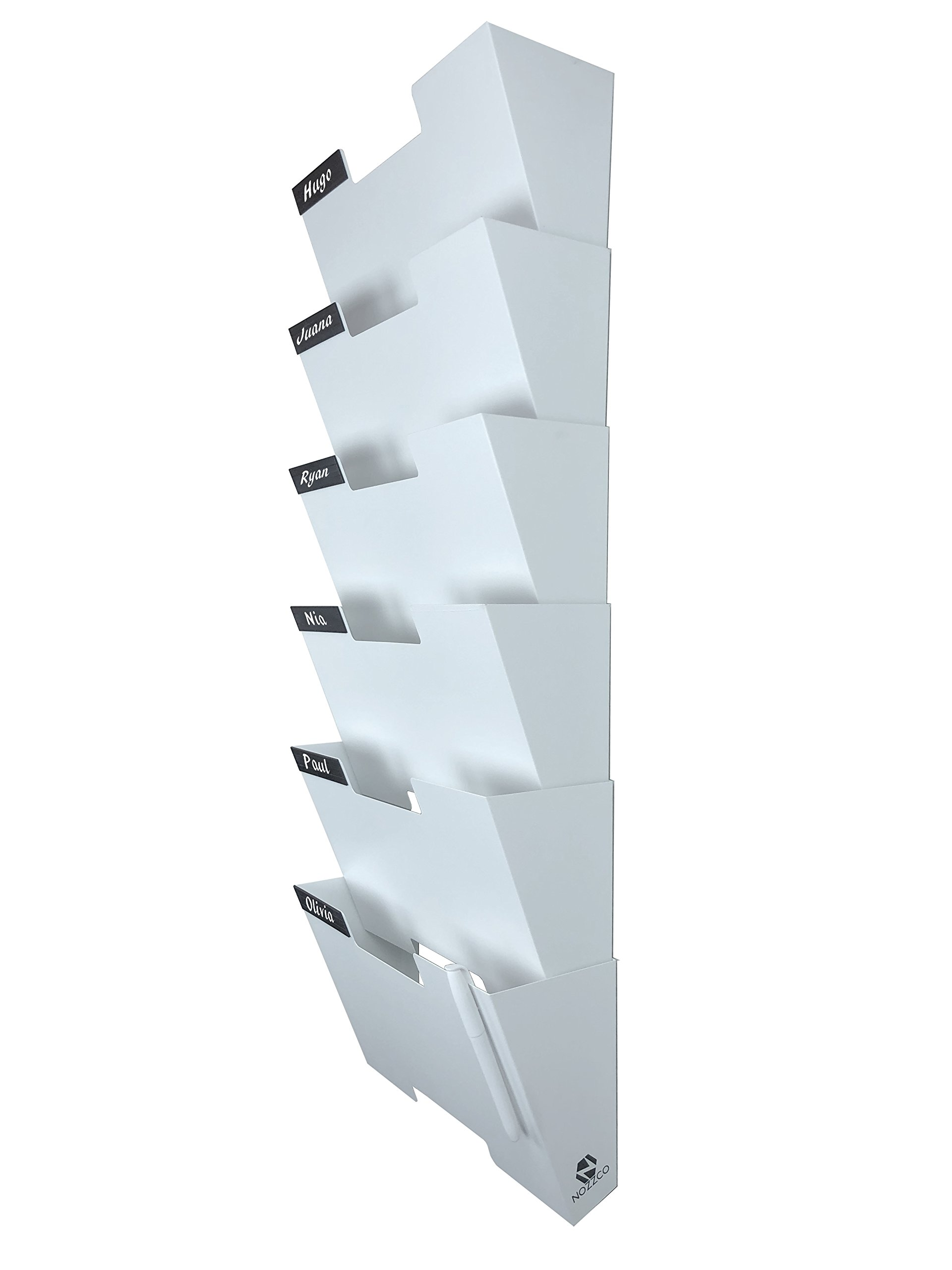White Wall Mount Hanging File Holder Organizer 6 Pack | Durable Steel Rack, Solid, Sturdy & Wide | for Letters, Files, Magazines & More | Organize The Desktop, Declutter Your Office - Nozzco