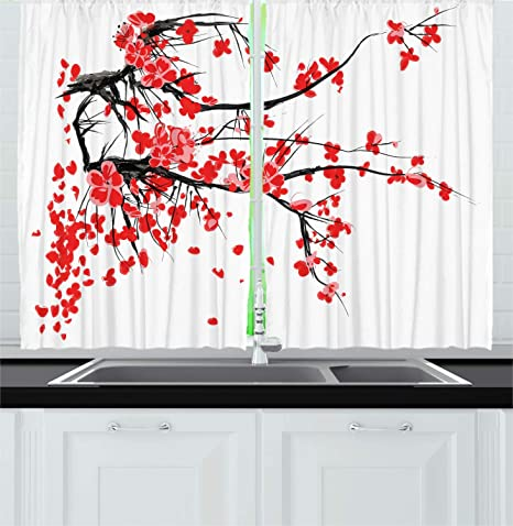 Ambesonne Floral Kitchen Curtains Japanese Cherry Blossom Sakura Blooms Branch Spring Inspirations Print Window Drapes 2 Panel Set For Kitchen Cafe Decor 55 X 39 White Vermilion Home Kitchen