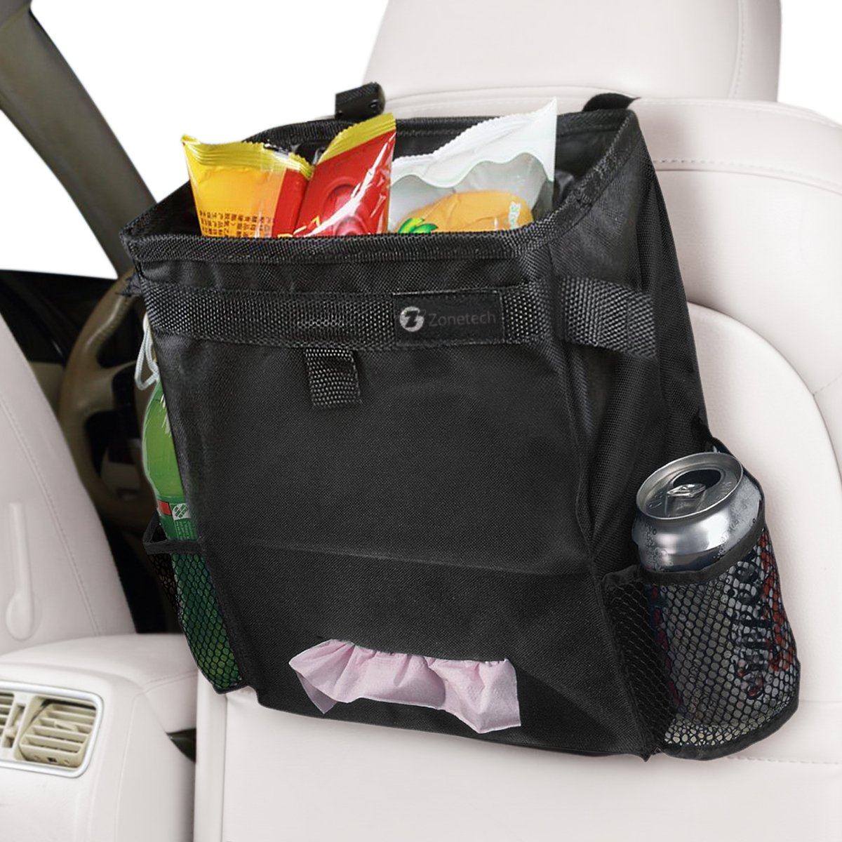 Durable Fully Leak Proof Vehicle Litter Bag and Practical Car Tissue Dispenser//Baby Wipe Holder Zone Tech 2-in-1 Classic Black Car Organizer