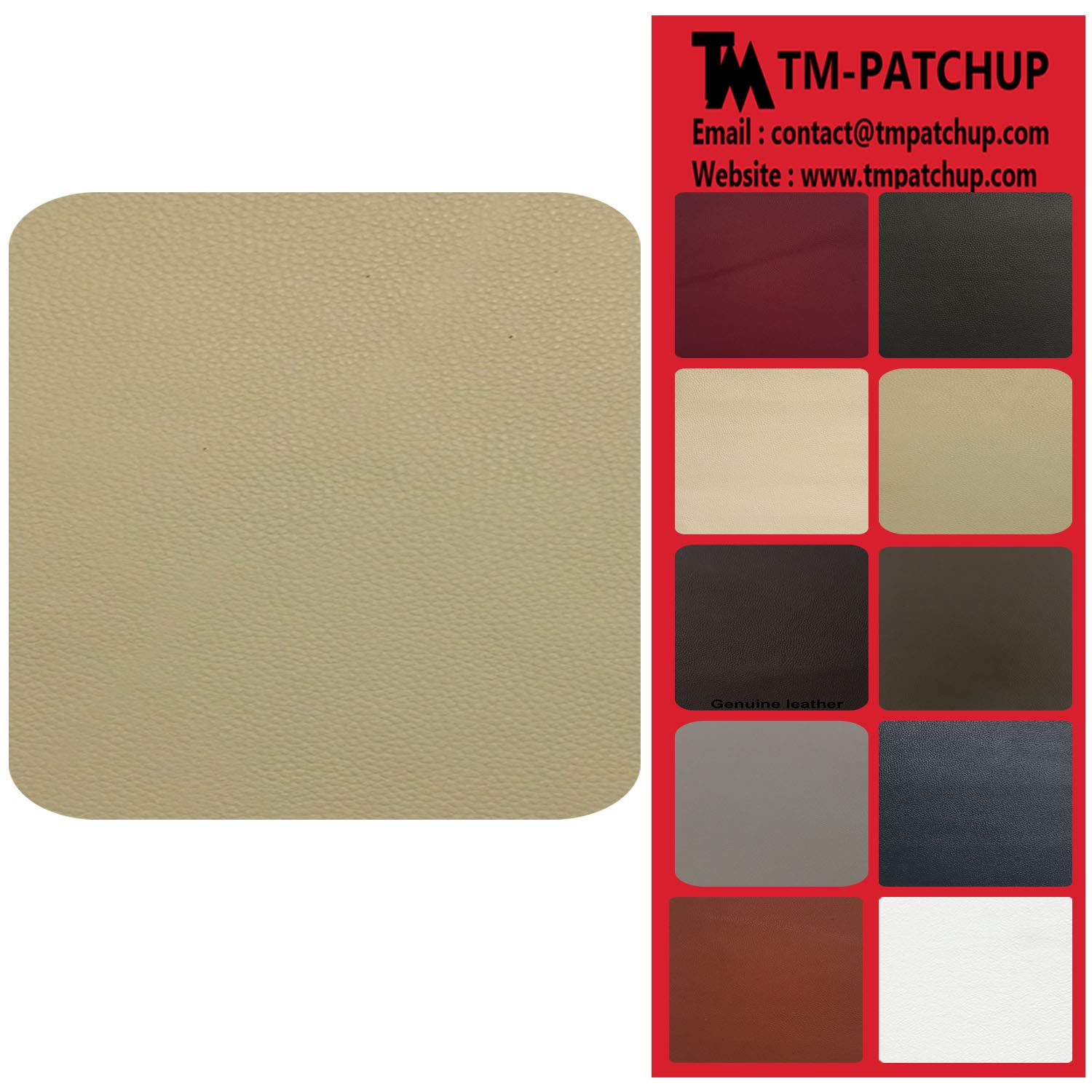 TMpatchup Genuine Leather and Vinyl Repair Patches Kit, Self Adhesive Leather, Multiple Colors and Sizes Available, Beige TMGroup