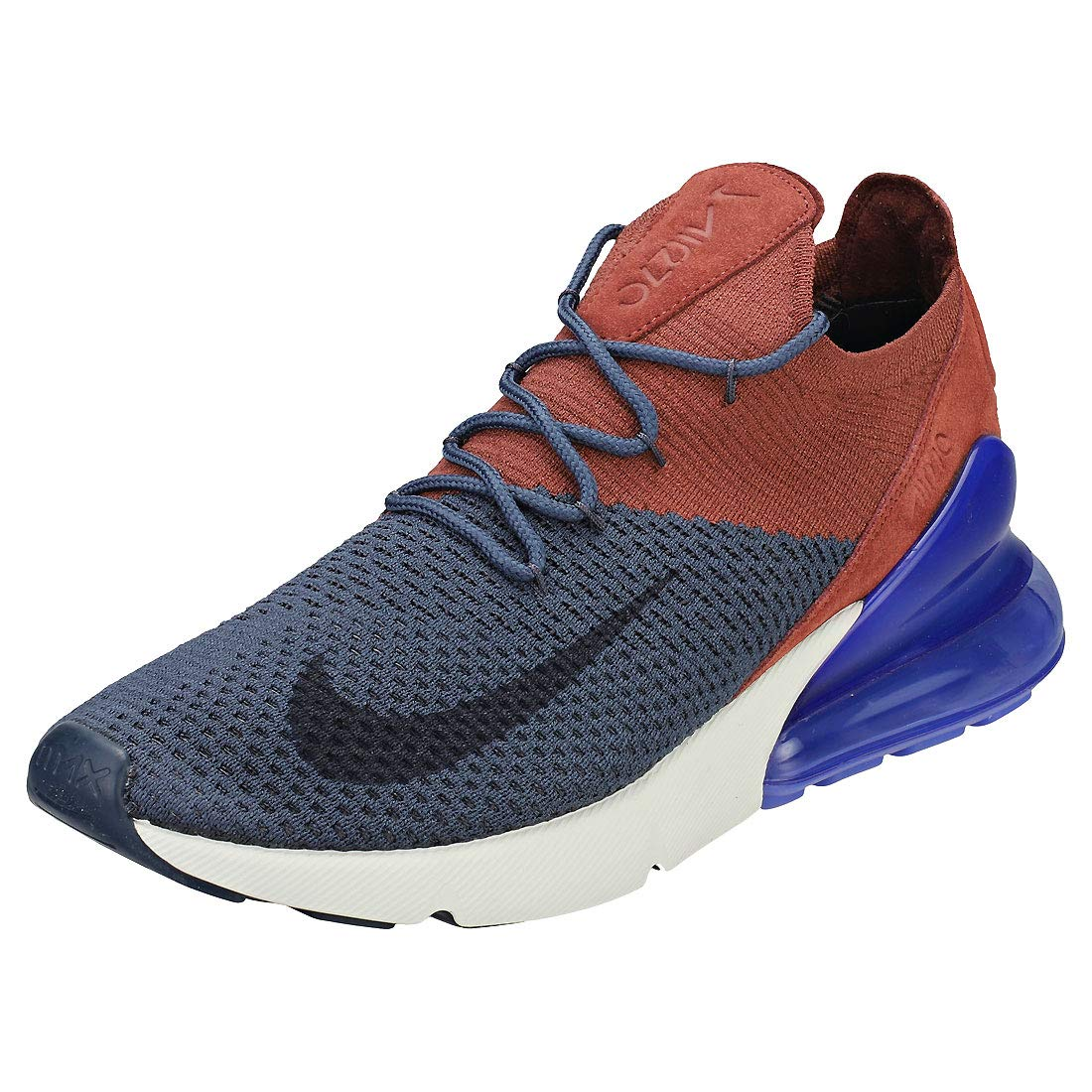 NIKE Air Max 270 Flyknit, Sneakers Basses Homme 42.5 Sepia EU|Multicolore (Thunder Blue/Gridiron/Red Sepia 42.5 001) 084745
