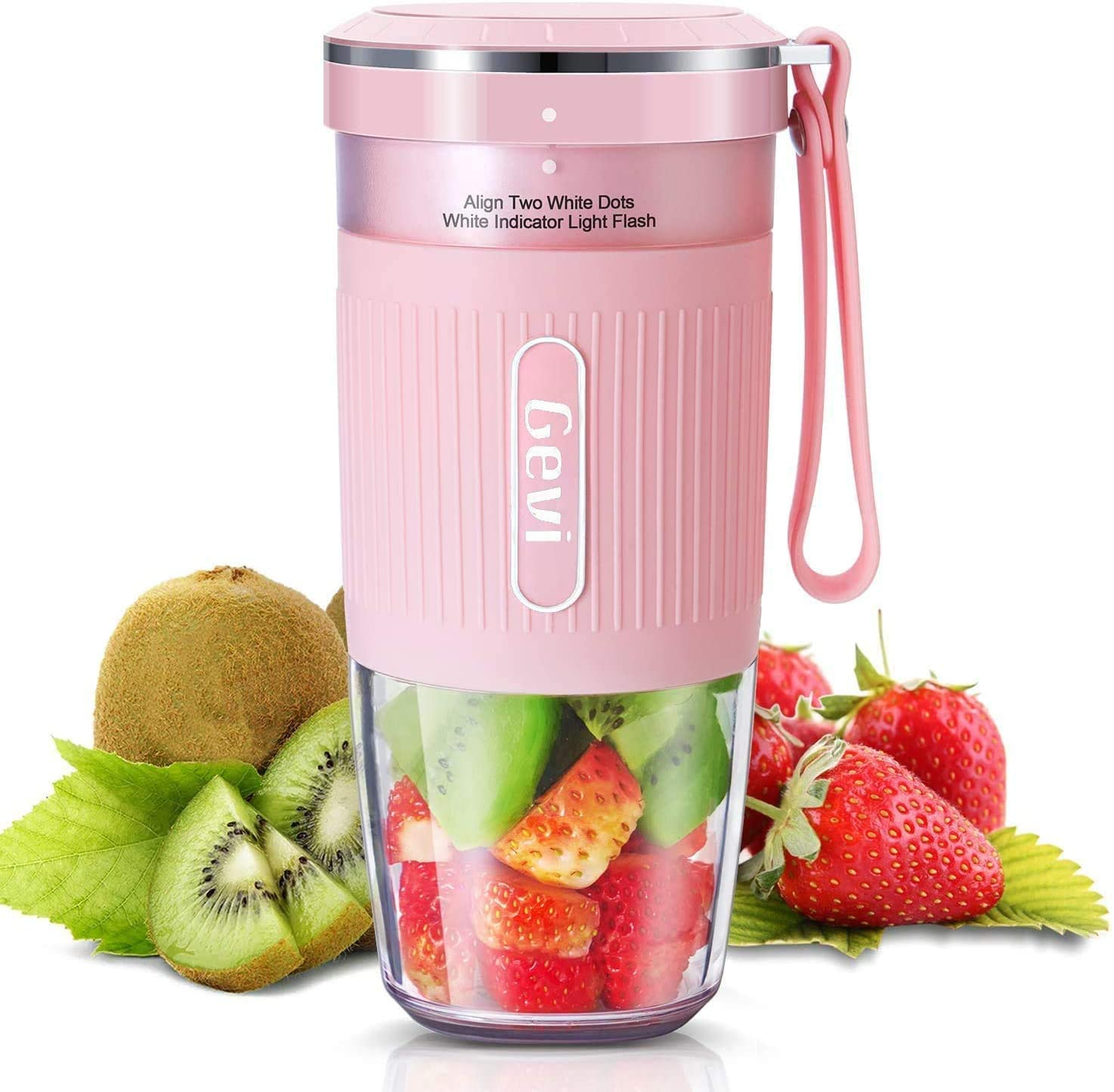 Portable Blender For Juice, Shakes and Smoothies, Cordless Personal Size Blenders With USB Rechargeable, SUS 301 Stainless Steel Blade, BPA Free and IP68 Waterproof, Juicer Mixer Cup For Home, Office, Sports, Travel, Outdoors, Low DB , 300ml, 50W,PINK