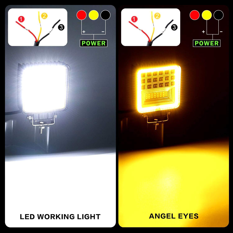 Fari Lavoro LED,YEEGO 60W Faretti LED Off Road 12V 24V Faro da Lavoro con Rayon combin/é dinondation de tache DRL per Camion Trattore 4x4 SUV UTV ATV Barca