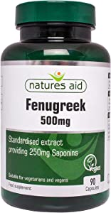 Natures Aid 500mg Fenugreek Capsules - Pack of 90