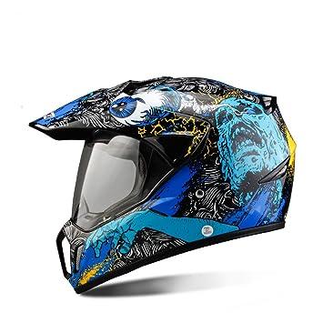 Roonsym Casco de motocicleta Moto de Motocross Casco Moto motocicleta motocicletas Touring Punto Capacetes calaveras azul