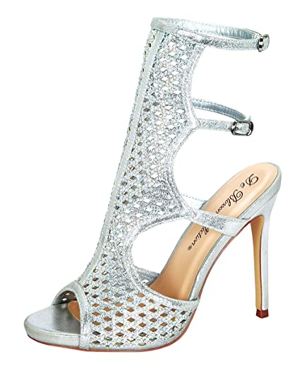 e4f3280450bb De Blossom Collection Adobe-1 Women s Adjustable Buckle High Heel Platform  Sandals Rhinstone Stiletto Dress