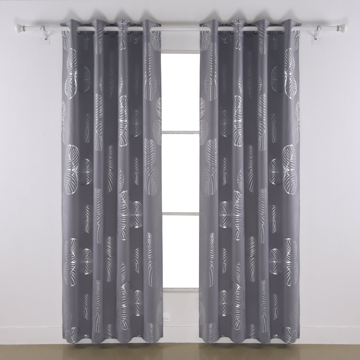 Deconovo Curtains Grey Blackout Curtains Delicate Goat Willow Leaf Printed Room Darkening Curtains Light Gray