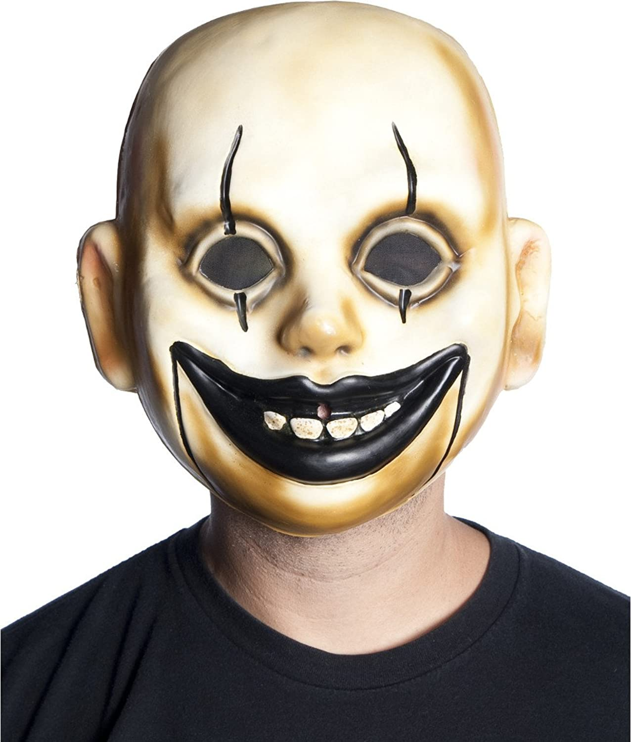 amazoncom clown doll face mask plastic creepy smile scary halloween costume accessory clothing