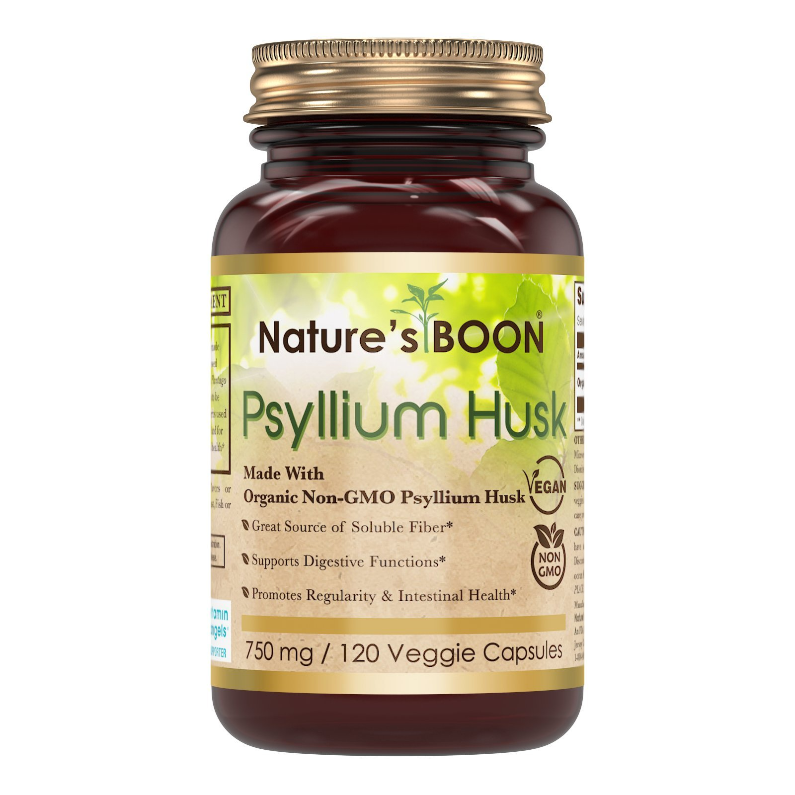 Nature's Boon Premium Quality Organic Psyllium Husk 750 mg 120 Veggie Capsules(glass bottle) -Great Source of Soluble Fiber -Support Digestive Function -Support Regularity & Intestinal Health