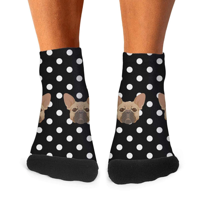 Tasbon Mens Athletic Socks Black and White French Bulldog Houndstooth Classic Breathable Comfort Crew Socks