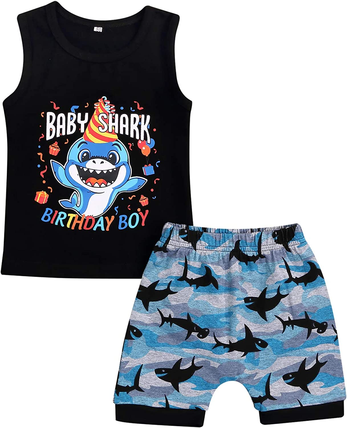 Baby Boys 1st Birthday Shark Outfit Short Sleeve Shark Romper Suspenders Ripped Denim Pants Clothes Set