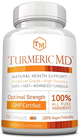 Turmeric MD – with BioPerine 95 Standardized Turmeric Curcuminoids – Natural Anti-Inflammatory, Antioxidant, Pain Relief and Antidepressant – 60 Capsules 1 Month Supply