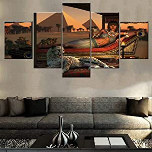 Decorations for Living Room Egyptian Pyramids Wall Art Egypt Girl Pictures Multi Panel Canvas Paintings HD Prints Modern Artwork Giclee Home Decor Stretched and Framed Ready to Hang(60''Wx32''H)