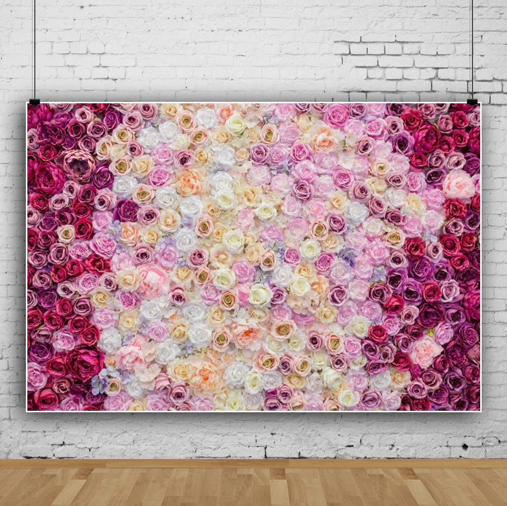 Laeacco 5x5ft Photography Backdrop Watercolor Flowers Pink and Romantic Purple Blossoms Painting Background Girls Child Adults Portraits Backdrop