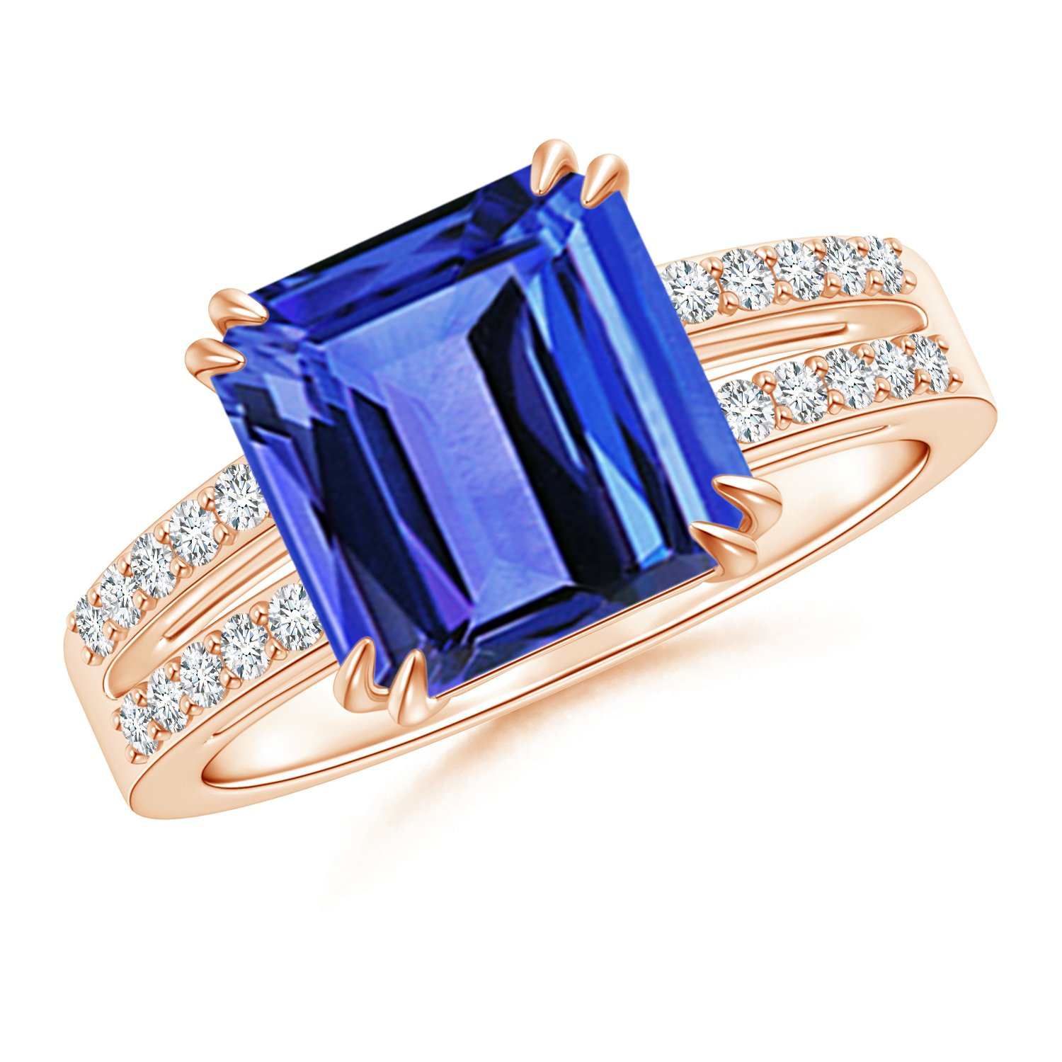 Holiday Offer - December Birthstone - Claw Set Emerald Cut Tanzanite Ring for Women with Diamond Accents in 14K Rose Gold (9mm Tanzanite) by Angara.com (Image #1)