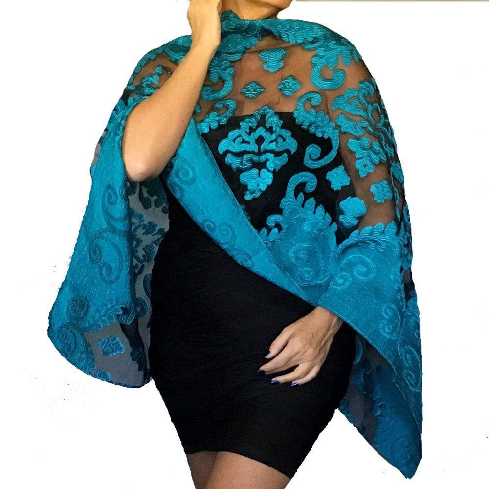 Plus Size Turquoise Wedding Shawl Organza Black Wrap Dressy Stole By ZiiCi