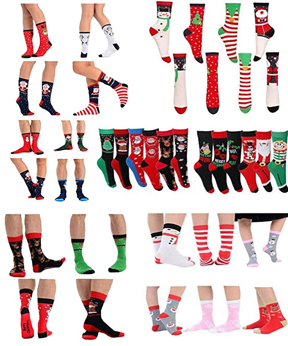 6 Pairs Ladies Womens Girls Xmas Coloured Socks Novelty Design Ankle Stockings