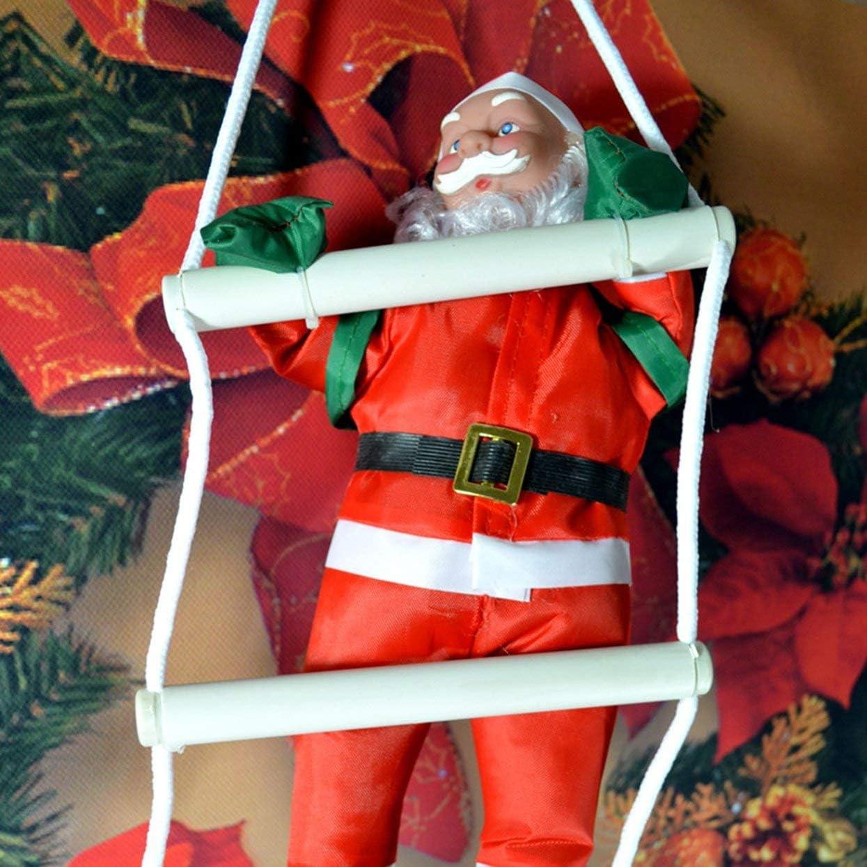 Papá Noel Escaleras para trepar Decoración del árbol de Navidad Adorno de año Nuevo Papá Noel Donaciones para Regalos Colgantes de Gran tamaño con Escalera: Amazon.es: Hogar