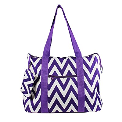 "19"" Large Roomy Tote Beach Bag w/Attached Coin Purse Chevron Prints"