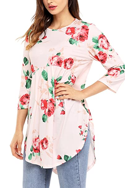 ff65b664bf46e AlvaQ Womens Summer Casual Floral Blouses And Tops Juniors Fashion 2017  Plus Size Maternity Tshirt Pink