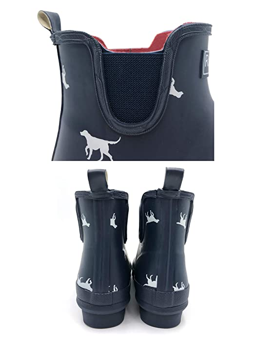 1b2a120ecb165 Rongee Short Ankle Rubber Rain Boots Chelsea Booties Dog Printed for Women  with Elastic Gore and Oxford Bag Packed