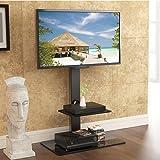 Fitueyes Meuble TV avec Support Pivotant Suspendu pour Ecran Plasma TV PC LCD de 32 pouce à 65 pouce avec 2 Etagères en Verre Trempé Noir TT207001MB