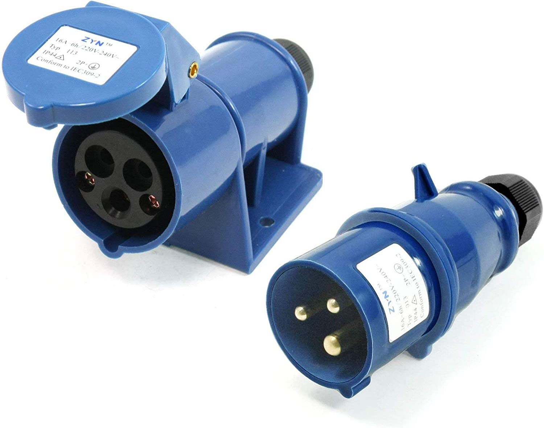 Male Plug /& Female Panel Mount Receptacles Socket LDEXIN 3 Pin Power Industrial Circular Single Phase Power Connector Socket