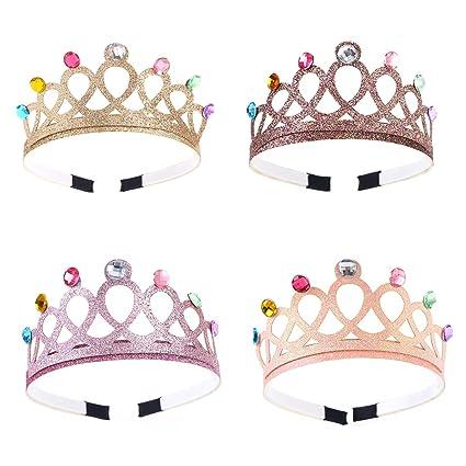 Frcolor Paquete de 4 Coronas de plástico Diamantes de ...
